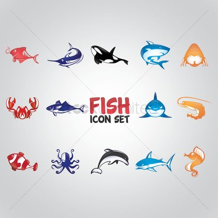 Marine life : Fish icon set