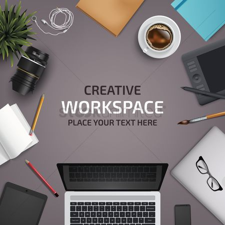Copy spaces : Flatlay of office desk and equipment