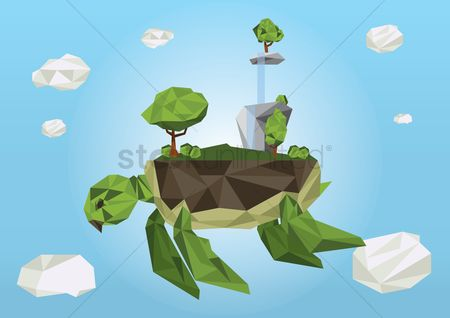 Waterfalls : Floating turtle with island on its back