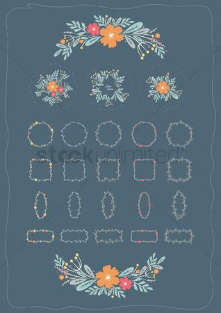Vectors : Floral card collection