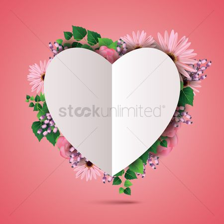 Copy spaces : Floral card with heart
