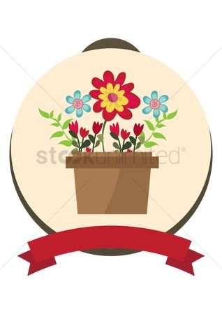 Flower pot : Flower pot with banner