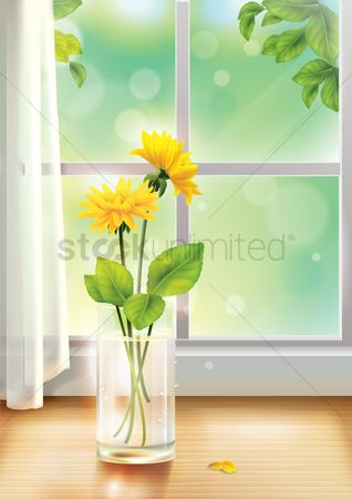 Fresh : Flower vase near window