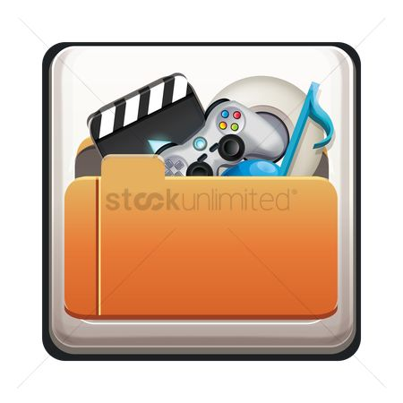 Portfolio : Folder with multimedia icon