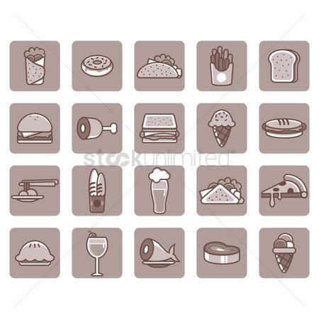Submarine sandwich : Food and beverage icon set