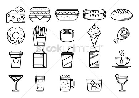 Burgers : Food and beverage icons set