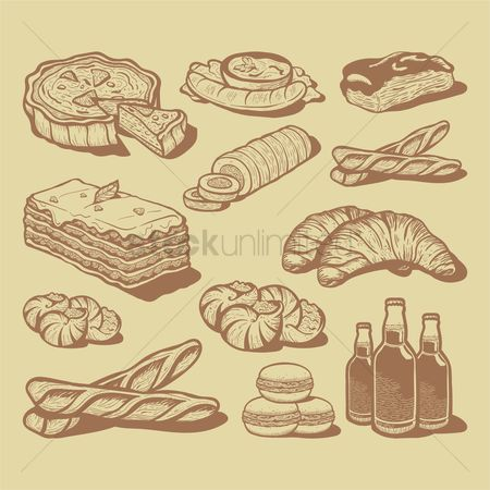 Croissants : Food and beverage icons set