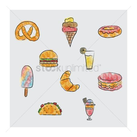 Macaron : Food and beverage icons set