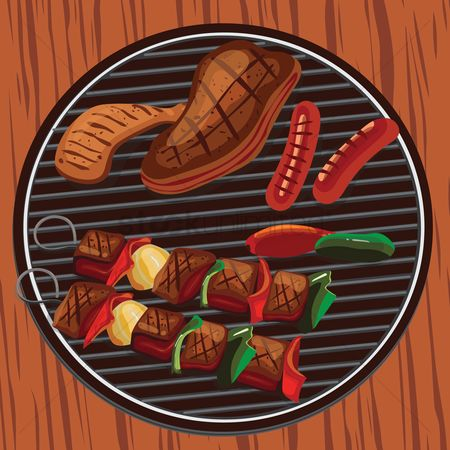 Sausage : Food on barbecue grill