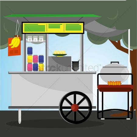 Food cart : Food stall cart with canopy