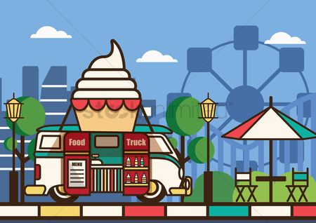 Vectors : Food truck at amusement park