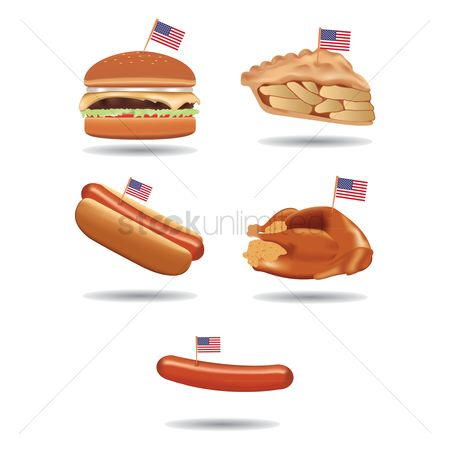 Junk food : Food with american flags