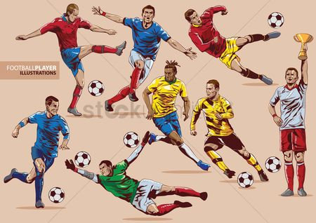Soccer : Football players set
