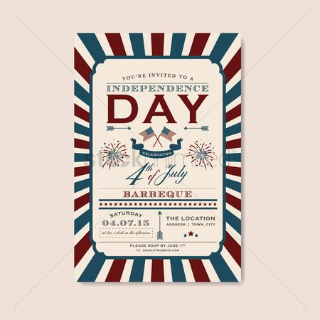 America : Fourth of july independence day barbecue invitation