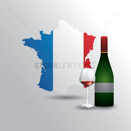 Red wine : France map with wine bottle