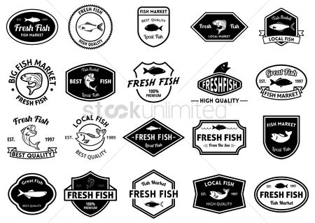Market : Fresh fish market and quality labels collection