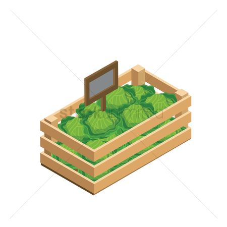 Market : Fresh vegetables in wooden crate