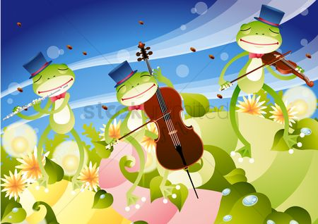 Musical instruments : Frogs playing musical instruments