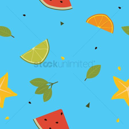 Watermelon slice : Fruits pattern background