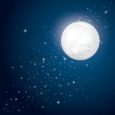 Wallpaper : Full moon and stars background