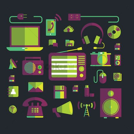 Mics : Gadgets and technology icons
