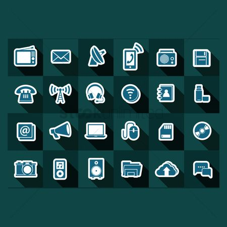 Broadcasting : Gadgets and technology icons