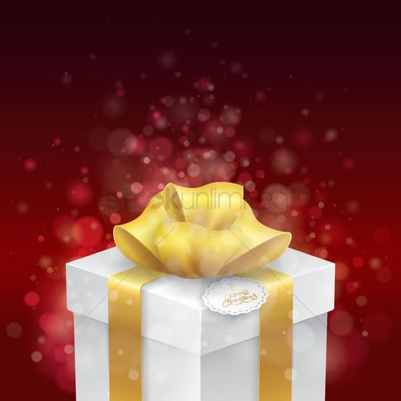 Red : Gift box with merry christmas tag