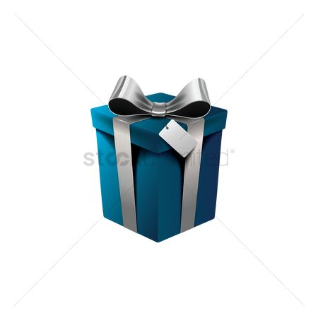 Silver : Gift box with ribbon