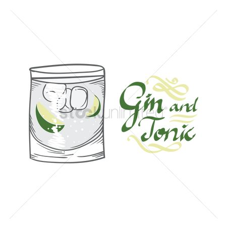 Liquor : Gin and tonic cocktail
