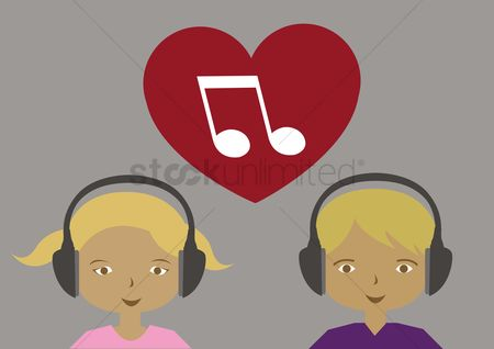 Love speech bubble : Girl and boy listening to music with headphones