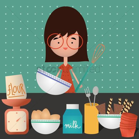 Fork : Girl baking cupcakes