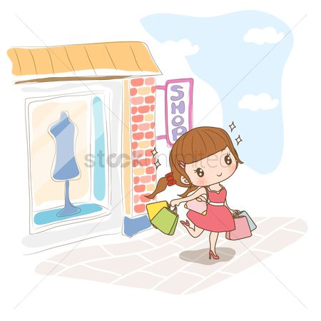 Fashions : Girl coming out of shop