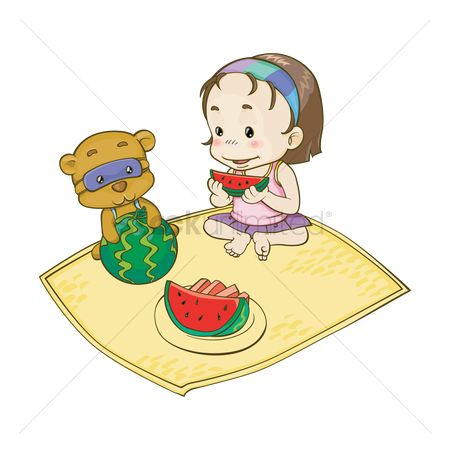 Teddybears : Girl eating watermelon with teddy bear