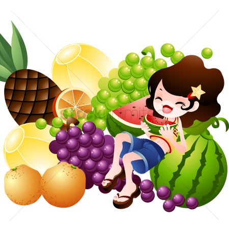 Grapes : Girl eating watermelon