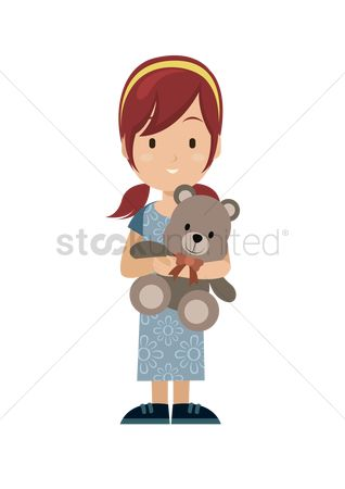 Teddybears : Girl holding teddy bear