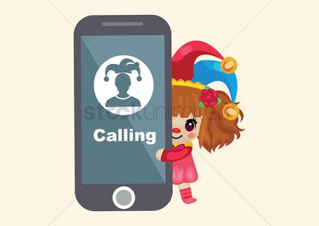 Calling : Girl in joker hat standing with phone