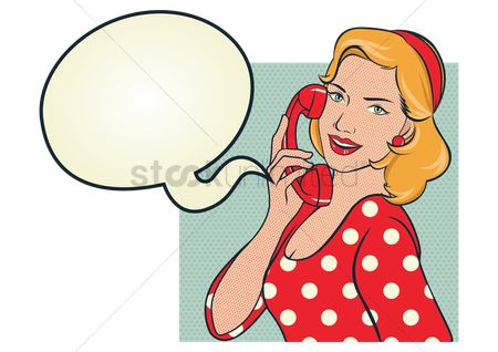 Vintage : Girl in red polka dots dress talking on the phone