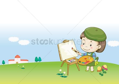 Kids : Girl painting on easel