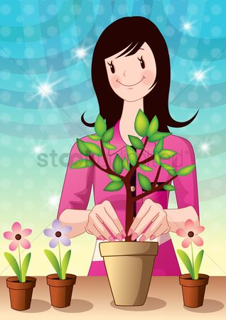 Flower pot : Girl planting tree in pot