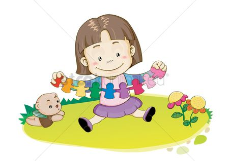 Babies : Girl playing with paper craft
