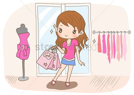 Shops : Girl shopping for new dress