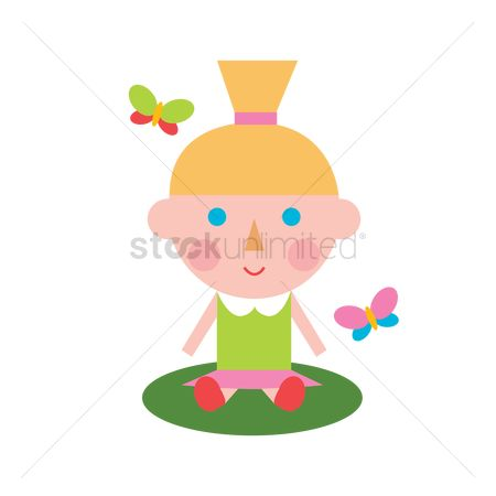 Dolls : Girl sitting with butterflies