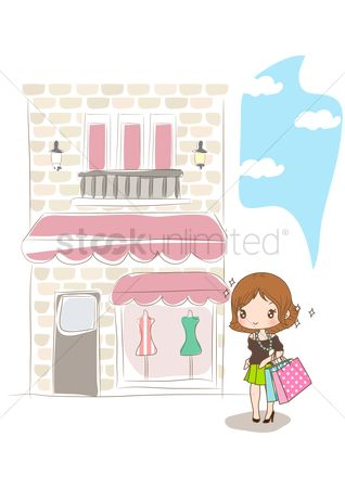 Shops : Girl standing at shopping street