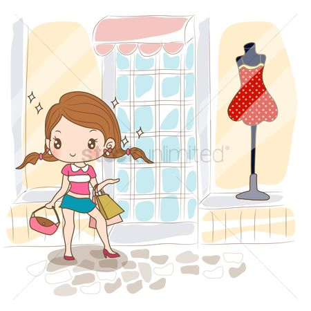 Shops : Girl standing near clothes shop