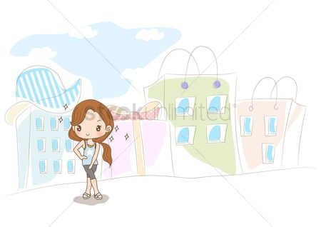 Boxes : Girl standing on fashion street