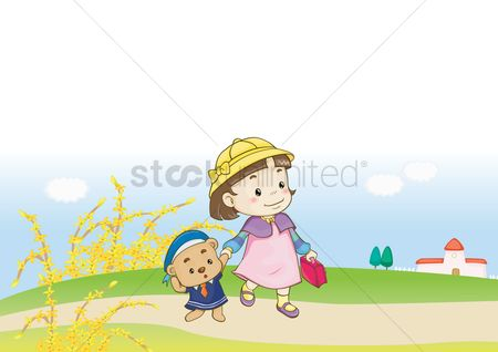 School bag : Girl taking baby to school