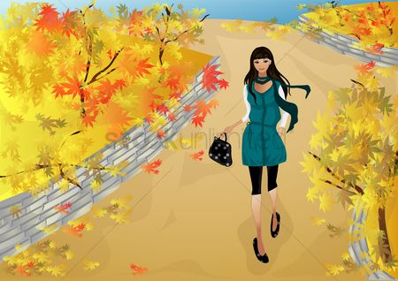 Handbags : Girl walking