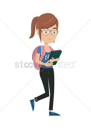 Backpacks : Girl with backpack and books