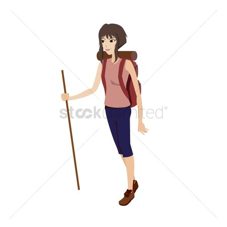 Hiking : Girl with backpack and trekking pole