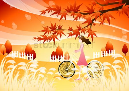 Bike : Girl with bicycle in autumn season